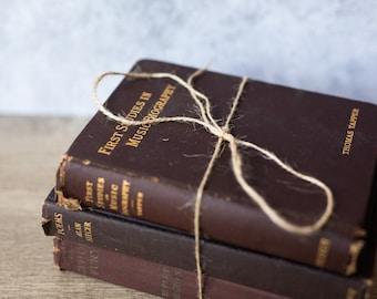 Vintage Antique Book Set (set of 3) Purple Maroon Burgundy | Rustic Home Decor | Wedding Decor | Decorative | Library | Farmhouse Decor