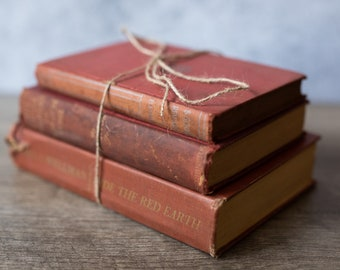 Vintage Antique Book Set Stack (set of 3) Red | Rustic Home Decor | Wedding Decor | Decorative | Library | Farmhouse Decor