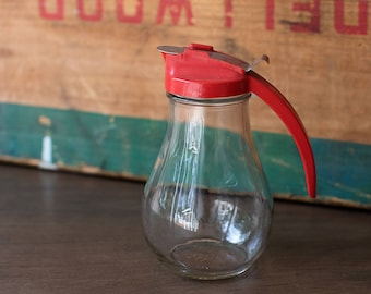Vintage 1950s Dripcut Red Syrup Pitcher Dispenser