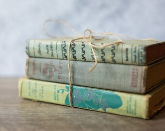 Vintage Antique Book Set Stack (set of 3) Green | Rustic Home Decor | Wedding Decor | Decorative | Library | Farmhouse Decor