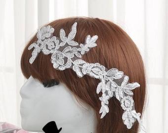 Alencon Lace Appliques Venice Venise Appliques Embroidered Lace Appliques Symmetrical Bridal Dress Patches Headpiece Polyester by pair LL178