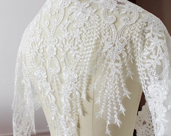"Off-white Bridal Sequins Embroidery Venice Alencon Lace Trims Bobbin Lace Broderie Anglaise 60cm 23.6"" Wedding Dress Lace Trimmings LL348"