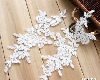 Off-white Alencon Lace Appliques Embroidered Lace Appliques Bridal Dress Patches Headpiece Symmetrical Venice Venise Appliques LL172