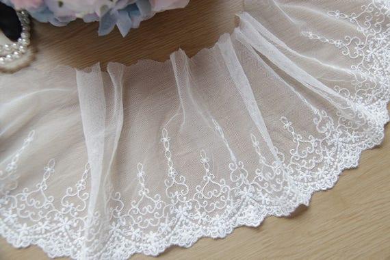 2 Yards White Lace Trim Edge Fringe Tassel for Wedding Dress Decoration 21cm