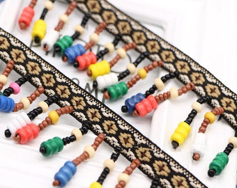 """5yd Bulk sale Ethnic Fringes Trimmings Bohemian Tassel Lace Trims Colorful Wooden Beads Fringes Ribbons 4cm 1.6"""" DIY Ethnic Notions XK0448"""