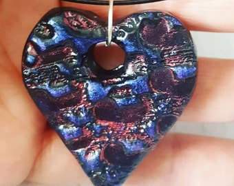 Purple heart pendant, purple and red pendant, purple and red heart pendant, purple clay pendant , leather cord necklace, polymer pendant,