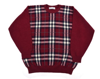 651c41d4df9016 vintage Burberry's check wool sweater