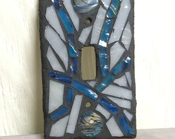 Single toggle blue and gray stained glass mosaic switch cover plate