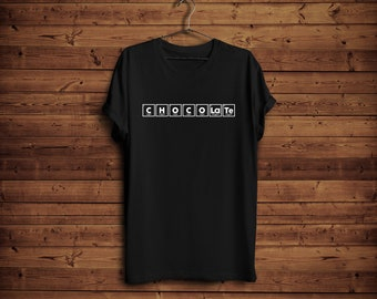 Periodic table chocolate etsy chocolate shirt periodic chocolate tee chemistry funny tee periodic table letters chocolate lover gift urtaz Gallery