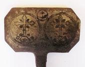 Antique 18th 19th century long handled iron Communion Wafers press