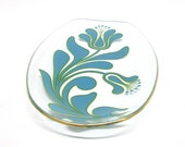 Vintage Chance Brothers glass oval dish with turquoise flowers and gold rim, 1970s