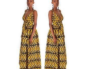 African dress, Ankara dress, infinity dress, yellow, slit, African clothing