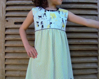 "Girl ""Peas walk"" cotton sleeveless dress."