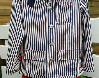 Navy boy striped blue cotton jacket and white.