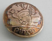 Ireland Coin Brooch,ERIE Harp Chicken with Chicks,1 Penny, 1968 Copper Coin