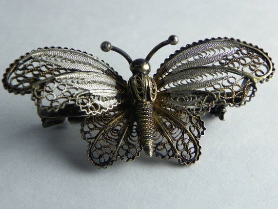 f54fc929dc789 Vintage Filigree Butterfly Brooch, Gilded 800 Silver, Fine Wire-work