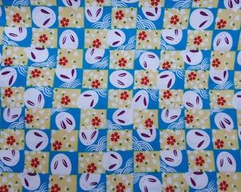 Japanese fabric, blue/yellow Bunny