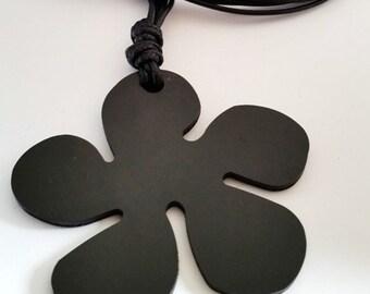 Long Necklace Pendant black metal flower