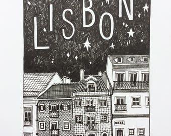 Starry Lisbon Night - black and white print
