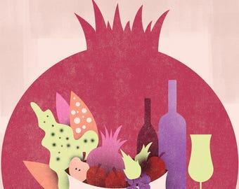 Shana Tova - Rosh HaShana Greeting Card - ראש השנה - שנה טובה | Pomegranate Fruit Bowl & Wines | 1748 x 2480 pixels
