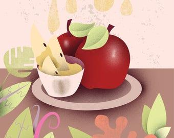 Shana Tova - Rosh HaShana Greeting Card -  ראש השנה - שנה טובה   Dish with Apples and Honey   1748 x 2480 pixels