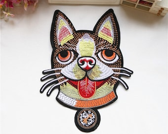 d5cc1e2e767908 Dog Sequin Patches Gucci style dog head embroidery patch