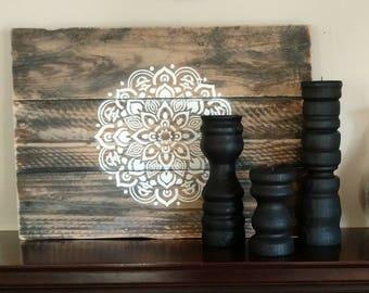 Hand Painted Rustic Mandala Wall Art on Reclaimed Wood