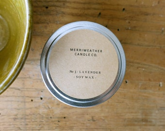 LAVENDER 3.5 oz Soy Candle in Metal Travel Tin