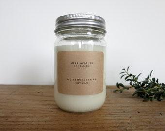 LEMON VERBENA 8.5 oz Soy Candle in Glass Jar
