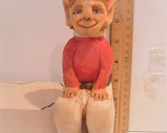 Elf, Shelf sitter, hand carved