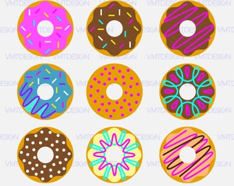 Donut Svg - Donut vector - Donut bundle - Donut digital  clipart files for Design or more download svg, eps, jpg, png, dxf