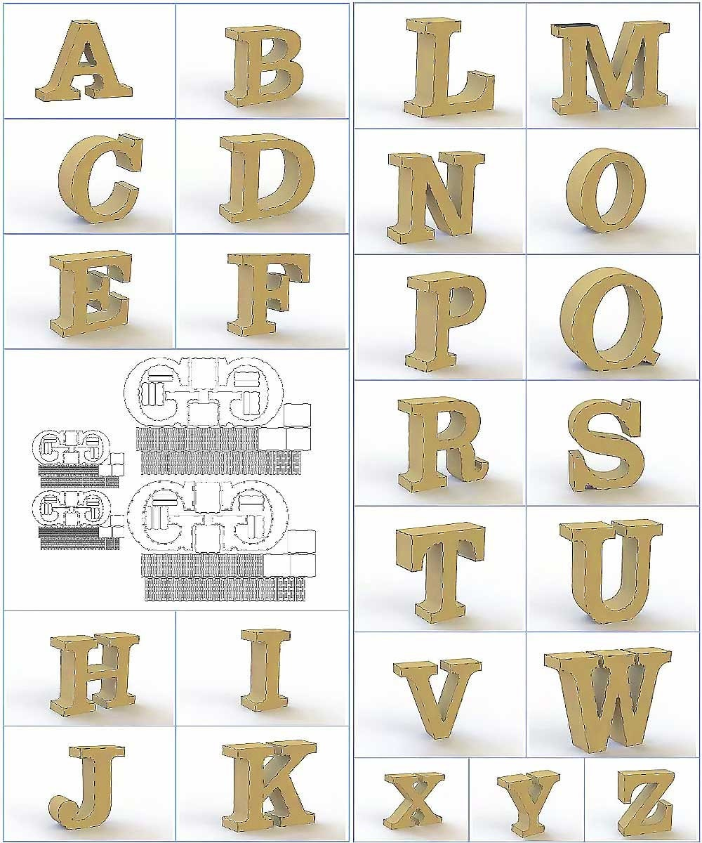 Alphabet & Digits  Laser Cut Design Files DXF + CDR CNC Vector Model  3D  puzzle Letters All Alphabet and symbol templates