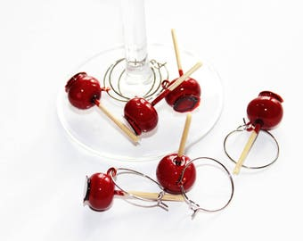 Set of 6 apples jewelry for glass