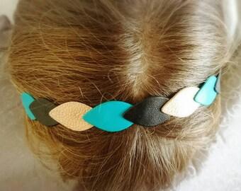 Diamond turquoise leather headband, gold and black.