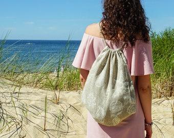 Linen summer bag, Linen backpack, Natural bag, Linen tote bag, Natural Linen Bag, Reusable bag, Linen beach bag, Small linen backpack