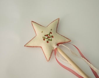 Cream and Red Embroidered Strawberry and Bee Felt Fairy Wand, Handmade