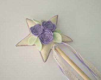 Lavender and Mint Felt Floral Fairy Wand, Handmade