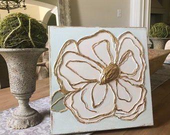 Hand Painted, Gold Leaf Textured Magnolia on Canvas