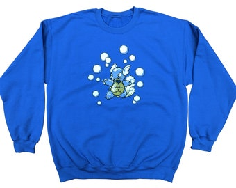 bec2df2cf87b90 8-bit Wortortle Blue Pokemon Crewneck