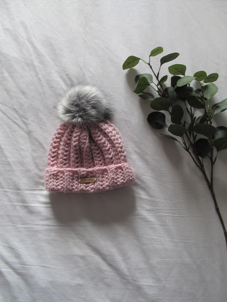 f2f072c96db Adult Kids Baby Toddler SOFT PINK Crocheted Beanie Bobble