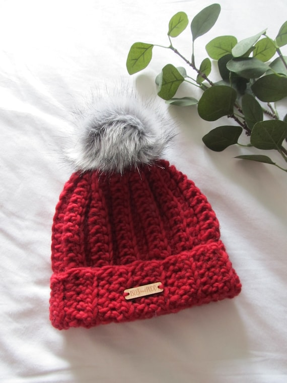 Adult Kids Baby Toddler RED Beanie Bobble Faux Fur Pom Pom  09baea38f7