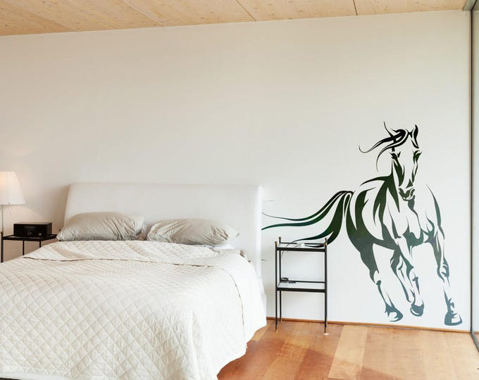 Wild Horse in the wind - Wall decals / stickers for magical minds, Colt Stallion Mustang Pony Wilderness Wall Decal Sticker