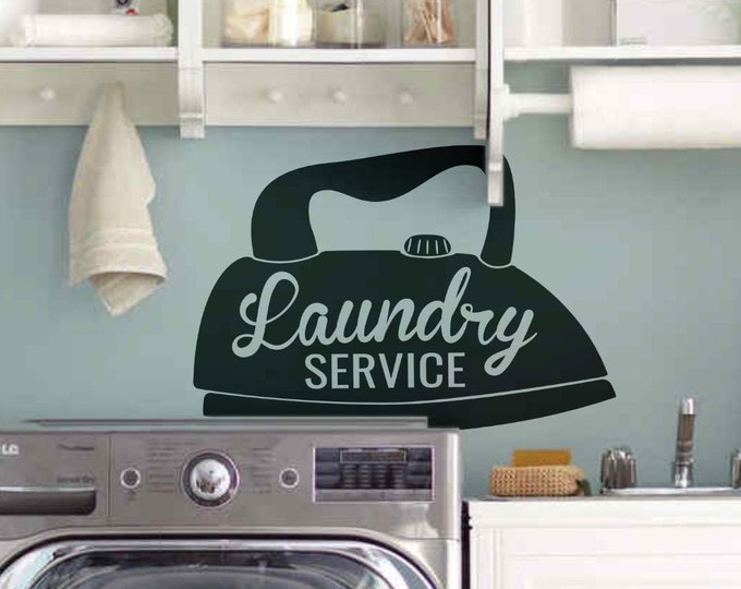 Laundry Room Service Wall Decal - Steam Iron, Homeware collection for home improvement, Interior design ideas, Home decor, Clothing Room