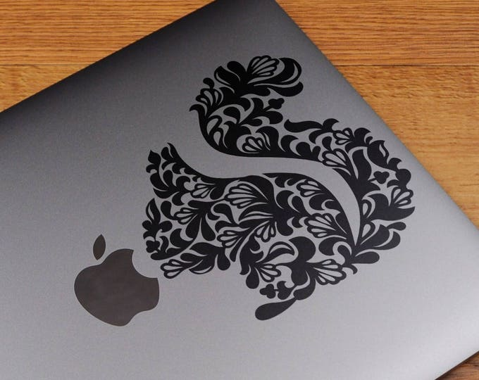 Floral Stylized Squirrel, Vinyl Sticker Skin, Beautiful Floral Designs, Epic Decals, mac, Macbook Decal Sticker