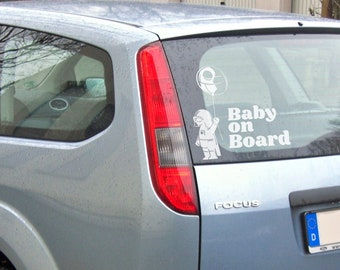 Baby on board - Version 6 - Car Window Decal, Life saver warning in case of accident, Cautious Sign, Cool and Funny decals for cars, Drivers