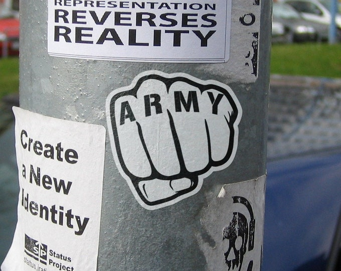 Old School Sticker - Army Fist, Retro , Monochrome, Black and White, Freaking awesome, Epic, Vintage Style, War Propaganda