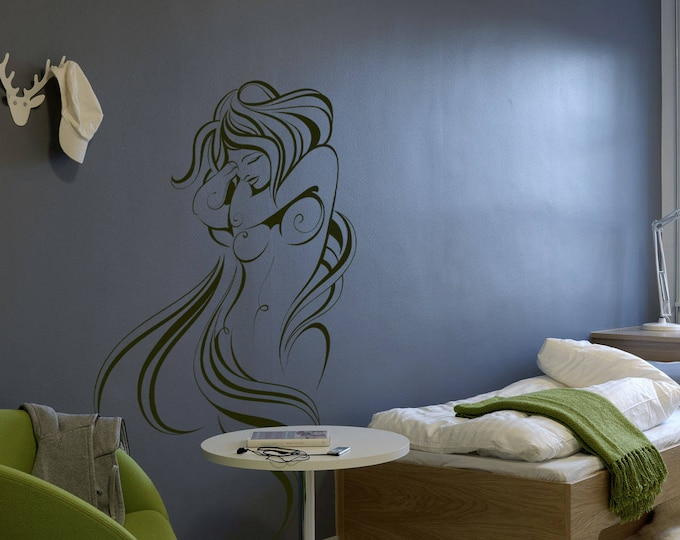 Artistic Posing Woman wall decal sticker for magical minds, Mystic collection, Wall decor embrace woman fantasy floral Nude Naked Art