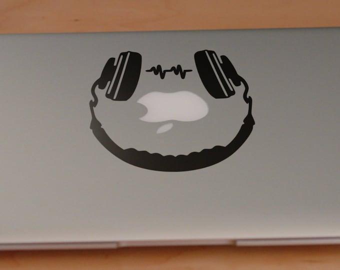 Headphones Decal Sticker, Decals for Music Lovers, Rock, Metal, Song, Vinyl stickers, mac, cool, Macbook Decal Sticker, Mac