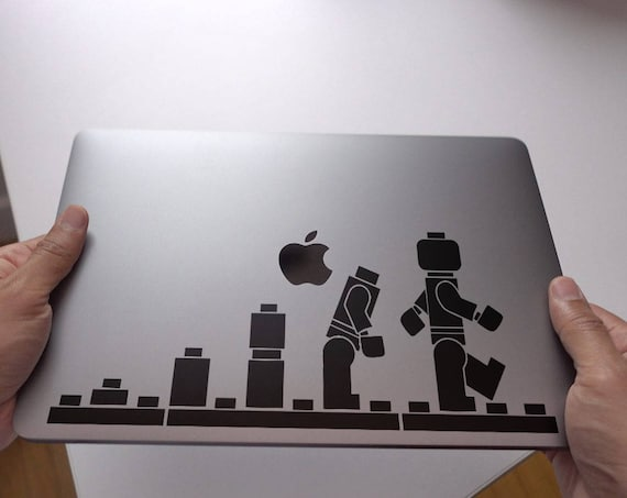 Man Evolution accordingly to Lego Decal Sticker, Funny Laptop Decal about human evolution, mac, Macbook Decal Sticker