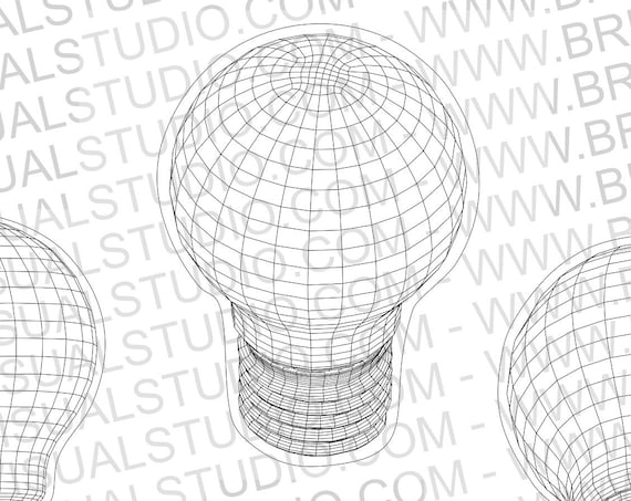 Wireframe Light Bulb - True vector source - Ideal for CNCs & Laser Cutters - 4 poses in .eps, .svg, .jpg, .png, .dpp - Great for led lamps